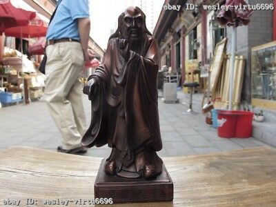 9 Chinese Pure Red Bronze Standing Great Philosopher Founder Taoism Laozi Statue