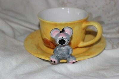 Kids Cheese Mouse Cup and Saucer .Tasses & Soucoupes.
