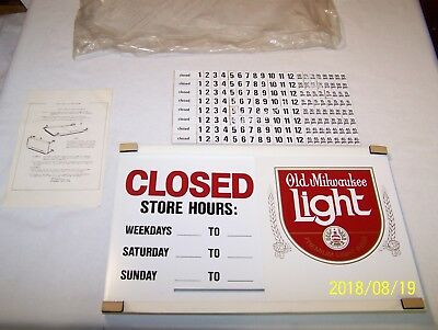 VINTAGE 1980's OLD MILWAUKEE LIGHT BEER - OPEN / CLOSED SIGN - NEW OLD STOCK !