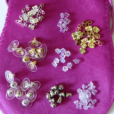 Earring backs,butterfly,metal,plastic,silicon stopper.Choose from various styles