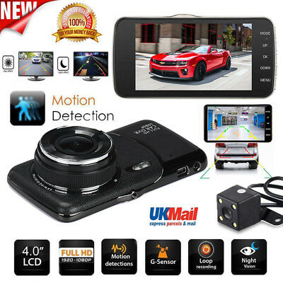 "4"" 1080P Dual Lens Car Dash Cam Front and Rear Camera Dashboard DVR Recorder 170"