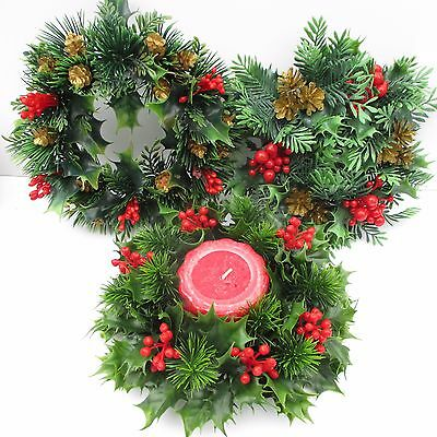Christmas Candle Rings.Vintage Christmas Candle Rings Set Of 3 Plastic Greenery Large 3 And 4 Candle
