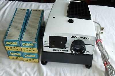 Gnome Slide Projector with Instructions 4 Slide Magazines and Original Packaging