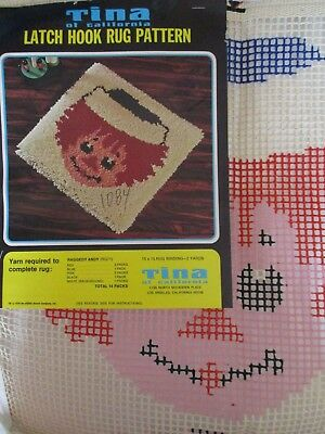Vintage Tina of California Raggedy Andy Latch Hook Rug Pattern