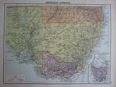 1935 Map ~ South East Australia New South Wales Victoria  Inset Tasmania