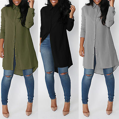 Women's Long Sleeve Chiffon Tunic Bloues Shirt Tops Ladies Casual Mini Dresses
