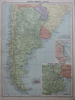1935 Map Southern South America Uruguay Buenos Aires City Plan Falkland Islands