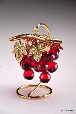 Handcrafted artificial Grapes Bunch Gold plated decor original Crystal Asfour