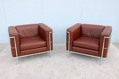 1928 Le Corbusier LC2 Style Brown Leather Lounge by Jack Cartwright - a Pair