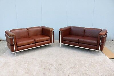 1928 Le Corbusier LC2 Style Brown Loveseat Settee by Jack Cartwright - a Pair