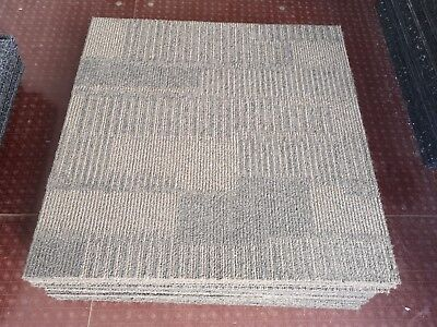 1 SQUARE METRE OF USED BROWN INTERFACE CARPET TILES (4 TILES / 25p EACH) FOR £1