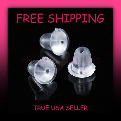 300pcs 4mm Clear Rubber Silicone Plastic Earring Backs Stopper Post Nut Findings