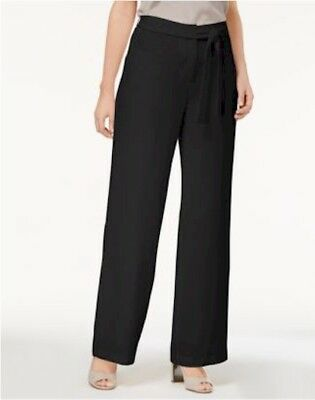 Alfani Womans Deep Black Belted Wide Leg Lined Pants Size 6 MSRP $69
