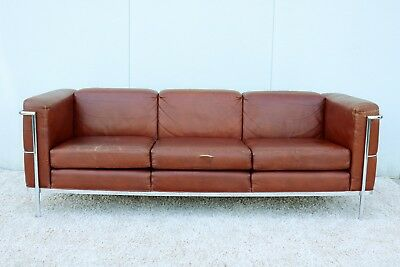 Le Corbusier 1928 LC2 Style Brown Leather Sofa by Jack Cartwright Mid-Century