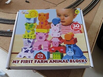 First Learning My First Farm Animal Wooden Building Blocks 30 Pieces