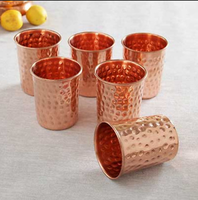 8 Pcs Set 100% Copper Hammered Drinking Glass Tumbler Mug Ayurveda Health Yoga