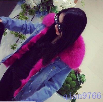 Hot Womens Faux Mink Fur Lapel Collar Winter Warm Jacket Mid Long Thicken Hooded