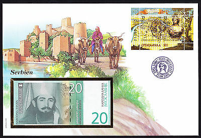 2003 Serbian Serbia Serbie Beograd Belgrad stamp cover displaying Banknote