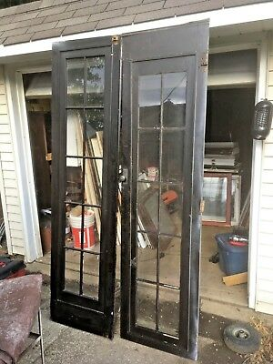 Pair Vintage French set Doors 10 panes in each from BRATENAHL ohio built 1925