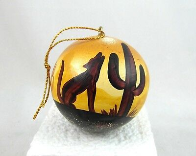 Christmas ORNAMENT HOWLING COYOTE Clay 2-inch round new hand painted Peru