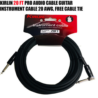 """Kirlin 20 FT Guitar Instrument Angle 1/4"""" 20AWG Straight to Right Angle + Free T"""