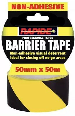 1x Hazard Warning Barrier Tape Roll Non Adhesive Yellow & Black 50mm x 50m UK