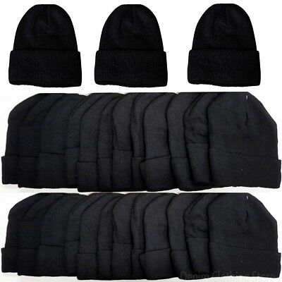 60pcs Men's Wholesale Lot Black Beanie Knit Ski Cap Skull Cuff  Winter Hats Lots