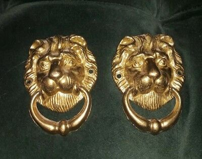 2 Large Solid Brass Drawer Ring Knocker Pulls Cabinet Handle Lion Face Head