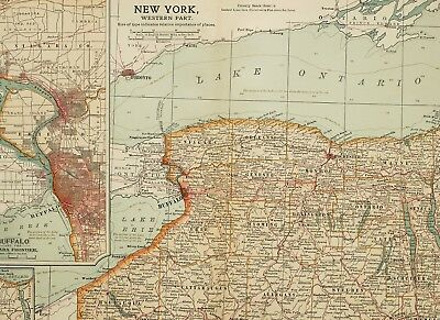 1903 Antique Map Western New York State Buffalo City Plan Rochester