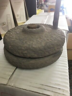 Vintage Ancient millstone Original collectible old  basalt stone small Decor