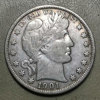 1901 Barber Half   Vf   Collector Coin   #8351