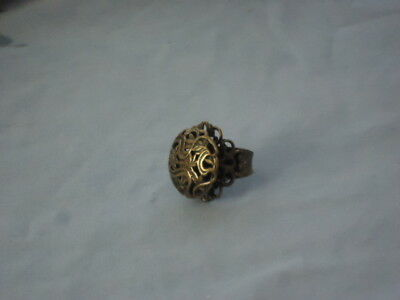 ART NOUVEAU LOOK VTG Antiqued BRONZE ADJ Size 6 7 8 9 RING Mint GOTH COSTUME