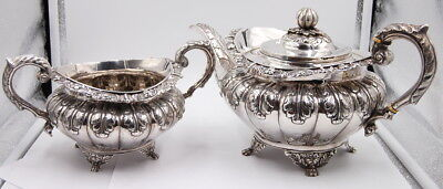 Antique 2 Piece Irish Sterling Silver Tea Set James Fray 1827 No Reserve