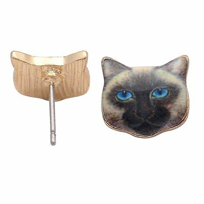 7e2f57013 Siamese Blue Eye Kitten Cat Kitty Stud Earrings - Ginger Lyne Collection