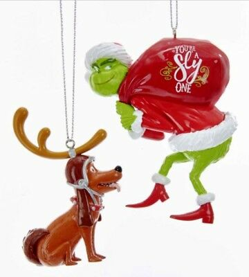 """The Grinch and Max Christmas Ornaments """"You're a Sly One"""" (set of 2) NEW"""