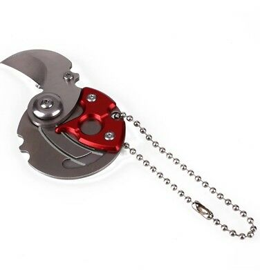 Mini Coin EDC Keyring Keychain Necklace Karambit Steel Neck Claw Folding Knife