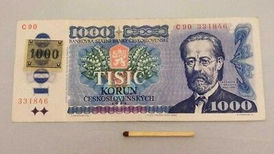 Czech Republic 1000 KORUN 1993 (1985) Pick 3a AU ND Provisional Issue with Stamp