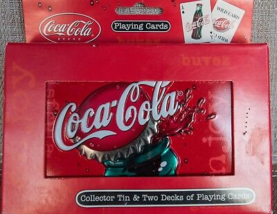 Coca Cola Collector Tin & Two Decks Of BICYCLE Playing Cards NEW  - STILL SEALED