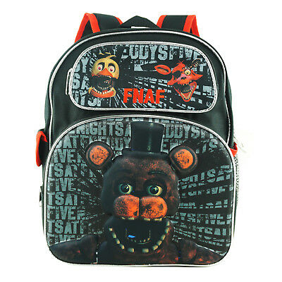 """FNAF Backpack Small 12"""" Black Withered 3D Embossed Five Nights at Freddy's"""