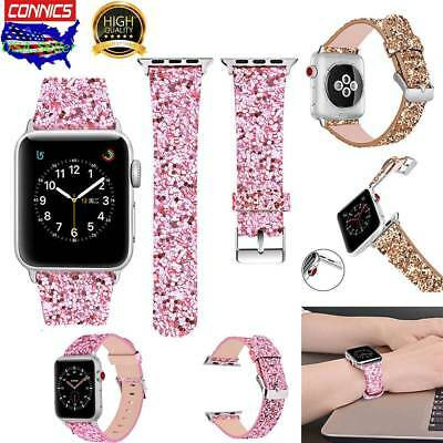 Glitter iWatch Bling Leather Wrist Strap Band For Apple Watch Series 3 2 1 38/42