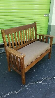 Vintage Mission Oak Settee. Stickley style NR.