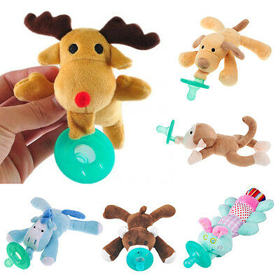 Infant Boy Girl Silicone Nipple Pacifier Baby Animal Pets Cuddly Plush Toys New