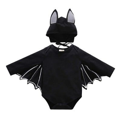 US Baby Toddler Clothes Halloween Black Bat Costume Cloak Romper with Hat Outfit
