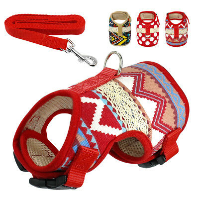 Pet Dog Harness and Leash set Soft Mesh Padded Vest for Puppy Chihuahua 4 Sizes