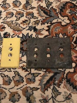 Antique Solid Brass 3 Gang Push Button Light Switch Cover & Single Plate Cover