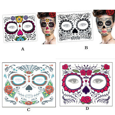 LOT 2 DAY Of The Dead Dia de los Muertos temporary tattoo Flowers ...