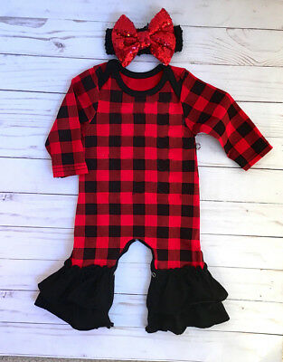 US Newborn Baby Girl Romper+Headband Set Infant Checked Jumpsuit Playsuit Outfit