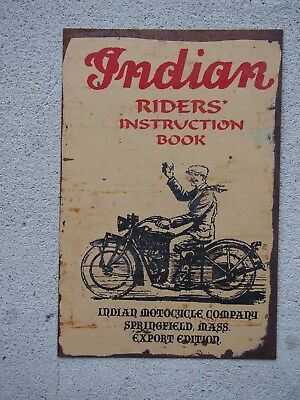 Retro Tin Sign - Indian Riders Instruction Book - 30cm x 20cm