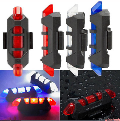 5LED USB Rechargeable Bike Bicycle Cycling Tail Rear Safety Warning Light Lamp T