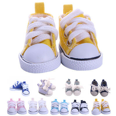 One Pair Lace Up Sneakers Shoes For BJD 1/6 Dolls Mini Canvas Shoes Toy 5cm Doll